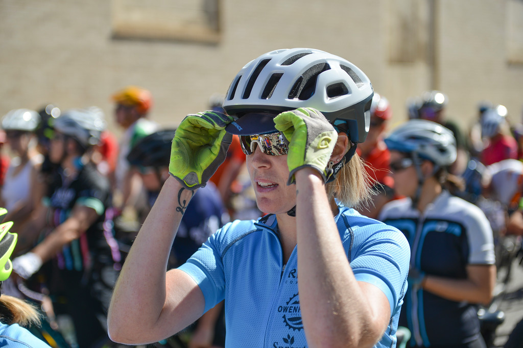 Justin Sheely | The Sheridan Press<br /> Mollie Kall of Bozeman, Montana, gets ready at the starting line for the 40-mile race during the Dead Swede Hundo bike race at Black Tooth Brewing Company Saturday, June 2, 2018. The race features a 100-mile loop that takes bicyclists into the Bighorn National Forest via Red Grade road.