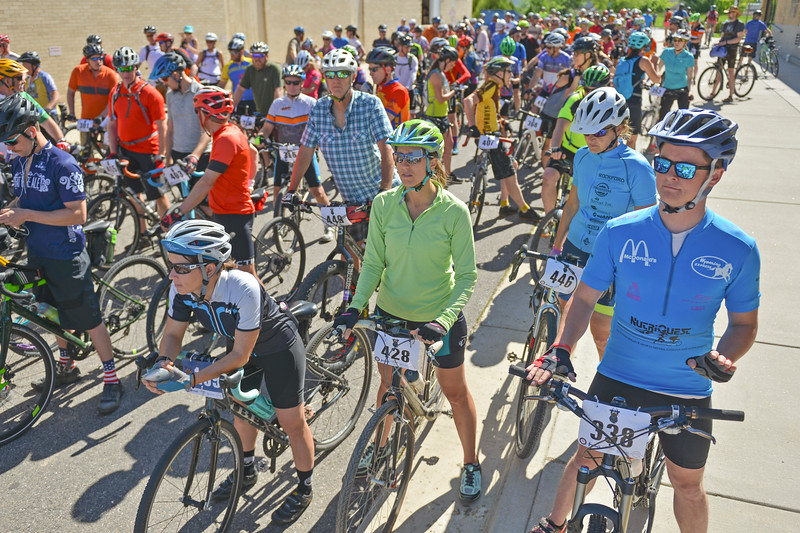 Justin Sheely | The Sheridan Press<br /> 40-mile racers gather behind the starting line during the Dead Swede Hundo bike race at Black Tooth Brewing Company Saturday, June 2, 2018. The race features a 100-mile loop that takes bicyclists into the Bighorn National Forest via Red Grade road.