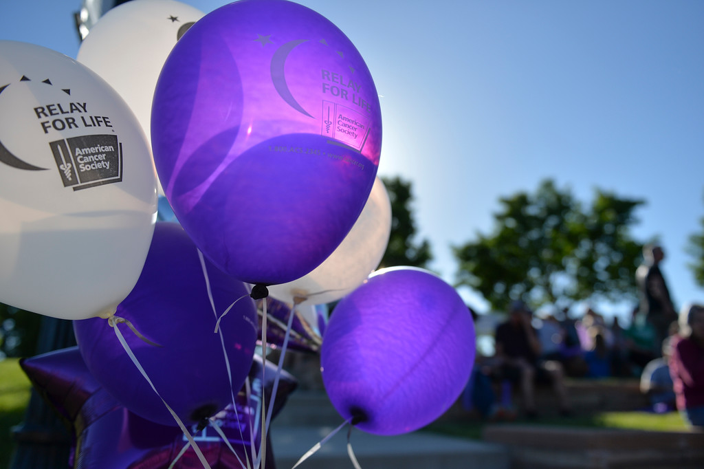 Justin Sheely | The Sheridan Press<br /> Balloons are displayed during the annual Relay for Life event at Whitney Commons Park Saturday, June 2, 2018. The event supports the American Cancer Society.