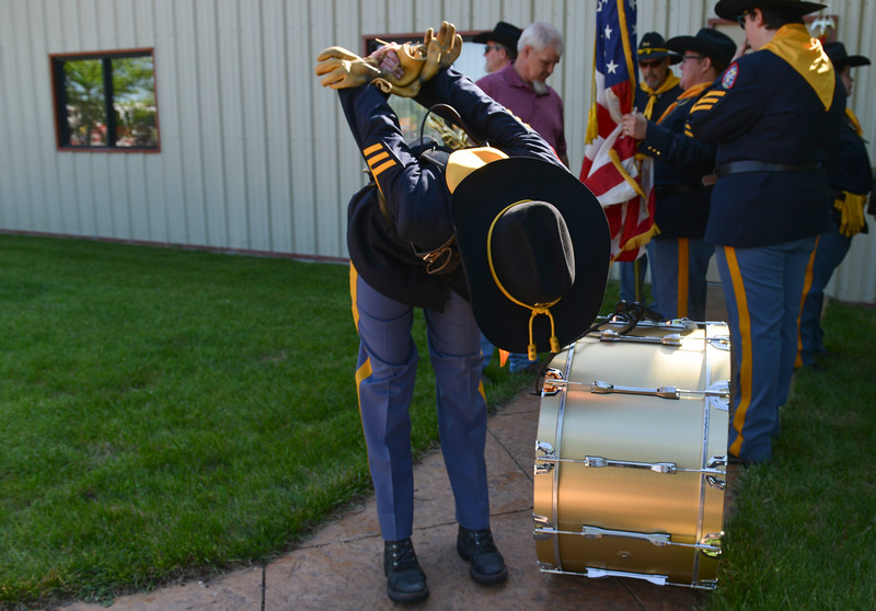 Justin Sheely | The Sheridan Press<br /> American Legion Post 7 Drum and Bugle Corps members gather at the staging area during the second annual Hay Daze in Ranchester Saturday, June 9, 2018.