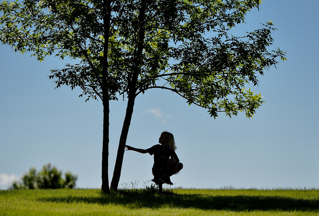 Justin Sheely | The Sheridan Press<br /> A girl plays in the shade of a tree near the parking lot during the annual Wyoming Rehab Hoop Jam at Sheridan High School Saturday, June 2, 2018.