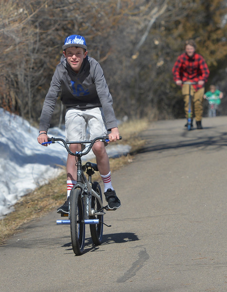 Justin Sheely  | The Sheridan Press<br /> Thirteen-year-old Kaleb Kethman zoom down the hill with Cody Anderson following at Kendrick Park Tuesday, March 13, 2018. Wednesday will be sunning with a high of 53 degrees, chances of rain and snow are expected Thursday and Friday.