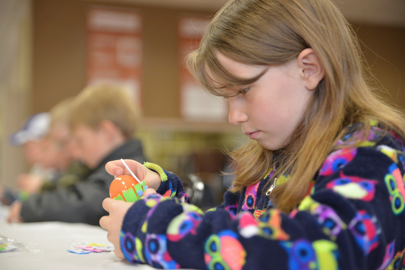 Justin Sheely | The Sheridan Press<br /> Second-grader Christlyn Barron works on her Easter craft during Fun Day Friday at the Tongue River Valley Community Center in Ranchester March 30, 2018.