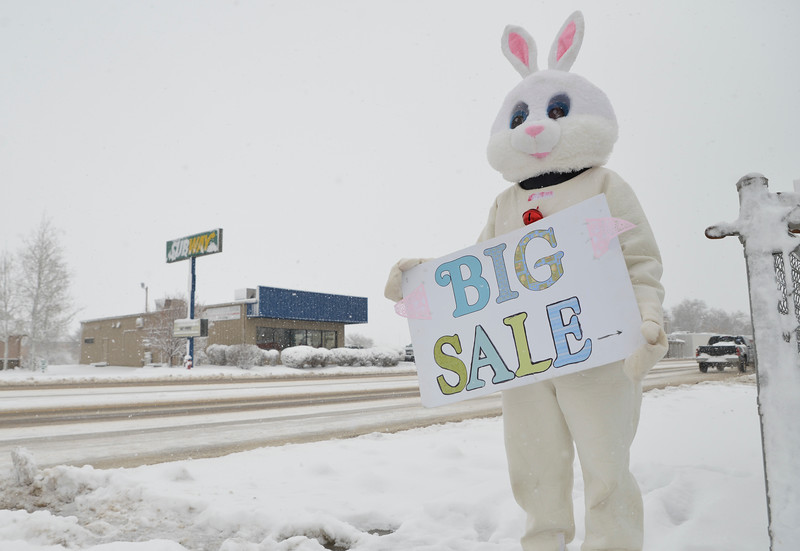 Justin Sheely | The Sheridan Press<br /> The Easter bunny stands outside of the Salvation Army thrift store on Coffeen Avenue Saturday, March 31, 2018. Parts of Sherida received up to 11 inches of snow by noon Saturday, 12.5 inches was reported from Dayton.