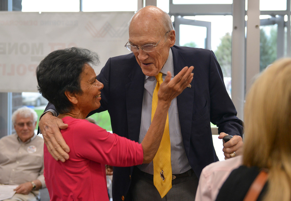 Justin Sheely | The Sheridan Press<br /> Bernie Barlow, left, greets Alan Simpson prior to the lecture at the Whitney Center for the Arts Thursday, May 17, 2017.