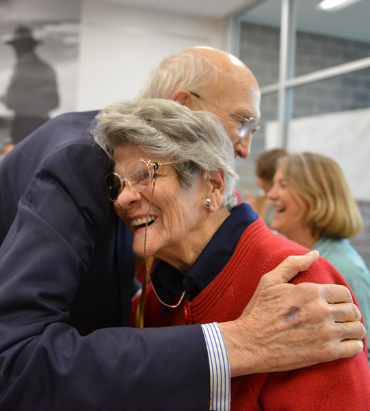 Justin Sheely | The Sheridan Press<br /> Mary Ellen McWilliams hugs Alan Simpson prior to the lecture at the Whitney Center for the Arts Thursday, May 17, 2017.