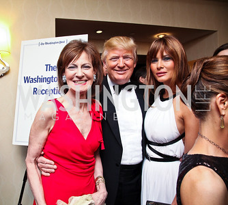 Lally Weymouth, Donald Trump and Melania Knauss-Trump. WHCD Pre Parties. Photo © Tony Powell. April 30, 2011