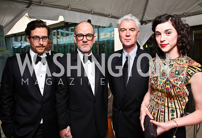 Thomas Dozol and Michael Stipe, David Byrne, Annie Clark, a.k.a. St. Vincent. WHCD Pre Parties. Photo © Tony Powell. April 30, 2011