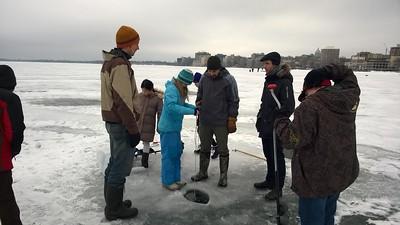 Winter Limnology 2015 - taking water samples/depth on Lake Mendota