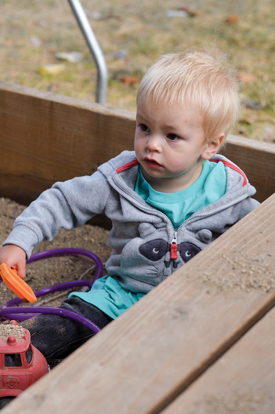 Ashleigh Fox | The Sheridan Press<br> Malachi Schultz, 1, plays in a sandbox during the Wolf Creek Wrangle at Eaton's Ranch Saturday, Sept. 15, 2018. The Schultz family will work to receive a Habitat home later this year.