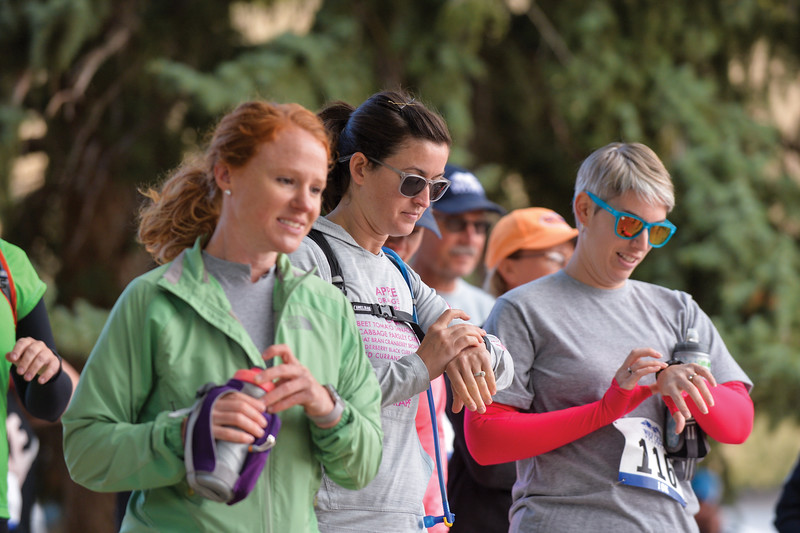 Ashleigh Fox | The Sheridan Press<br> Women set their watches ahead of the Wolf Creek Wrangle 5K Saturday, Sept. 15, 2018.