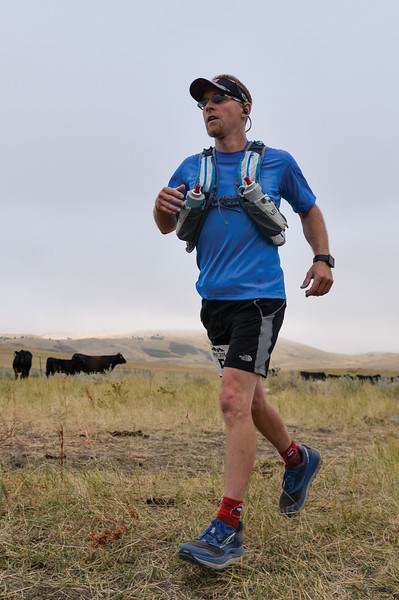 Ashleigh Fox | The Sheridan Press<br> Chris Hayden of Sheridan is the second to reach the last aid station during the Wolf Creek Wrangle Saturday, Sept. 15, 2018. Hayden finished second in the half marathon.