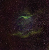 "RCW 104, a Wolf Rayet nebula in Norma. Very faint (mag 18). Green: H-alpha 5hrs unbinned; Blue: OIII 4hrs 2x2, Red: SII 4hrs 2x2. There are only the faintest traces of III and SII in this image. It has taken much differential stretching to bring them out. This suggests that very little  material has as yet been dredged up from deeper within the WR star. Notice the faint blue ring of OIII, comprising multiple superimposed shock fronts, is much smaller than the bright H-alpha, itself reminiscent of a giant clam shell.<br /> <br /> Aspen CG16M on 20"" PlaneWave."