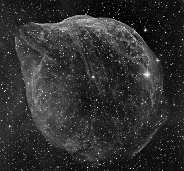 The Gourd, a Wolf-Rayet nebula produced by the bright central star. Four panel mosaic (50% reduced). Total exposure 20 hrs. 3nM OIII filter.  The resemblance to an ice sculpture of a bottle-nosed dolphin broaching the water is strong.  The arc of faint diffuse nebulosity at the lower half of the left border seems to be a separate structure, as in wider views it is very extensive and strong in H-alpha.