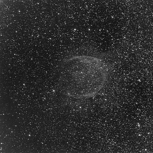 RCW 104, a Wolf Rayett nebula,  in OIII. The OIII shell is very different in structure to the H-apha shell. It is also very faint compared with the background stars, and hard to show in the same image as the H-alpha shell. OIII 10 hrs in 1hr subs. Aspen CG16M on 20 inch PlaneWave.