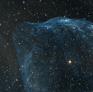 """NW part of Gourd Nebula (RCW 11 or Sharpless 308) in Canis Major. Can you see the nose and forehead of a dolphin? Orange: H-alpha (5hrs, of which 3hrs unbinned, 2hrs 2x2 binned), Sky-blue: OIII (4hrs, unbinned) all in 1hr subs. We are quite proud of this image as the detail is very sharp for such a faint object. The H-alpha is extremely weak, and has been greatly stretched to be visible at all. Conversely, the object is bright in OIII, indicating lots of hard UV from the central star.  Aspen 16M on 20"""" PlaneWave CDK."""