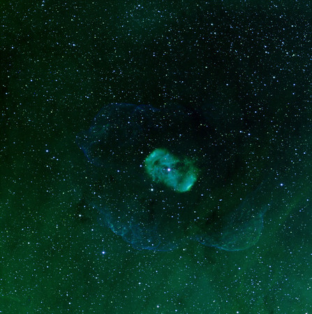 "Norma Bipolar Nebula revisited. H-alpha (green), OII (blue), SII (red) 5 hrs each. 3nM filters. Aspen 16M on 20"" PlaneWave CDK. Despite being a shorter exposure, this attempt shows more detail than the previous STL11000M shot.   Of interest is that there is virtually no SII detectable in the faint outer bubble, which is strong in OIII.We went on to do 11 hours of SII at 2x2 binning, and it just isn't there."