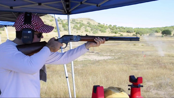 Paul shooting the lever-action 45 colt