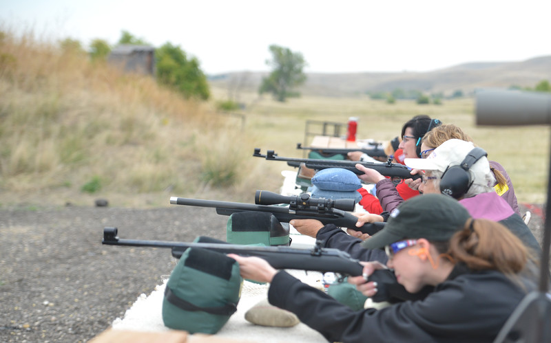 "Ryan Patterson | The Sheridan Press<br /> Women shoot rifles during ""Women on Target"" training at the Sheridan County Sportsmen's Association Saturday, Sept. 15, 2018. Eighteen women learned about gun safety and instruction and practiced shooting during the day."