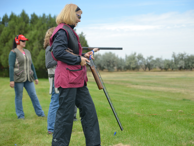 "Ryan Patterson | The Sheridan Press<br /> Allison Cole reloads a shotgun during ""Women on Target"" training at the Sheridan County Sportsmen's Association Saturday, Sept. 15, 2018. Eighteen women learned about gun safety and instruction and practiced shooting during the day."