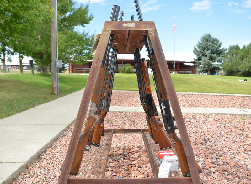 "Ryan Patterson | The Sheridan Press<br /> Shotguns stand in place during ""Women on Target"" training at the Sheridan County Sportsmen's Association Saturday, Sept. 15, 2018. Eighteen women learned about gun safety and instruction and practiced shooting during the day."