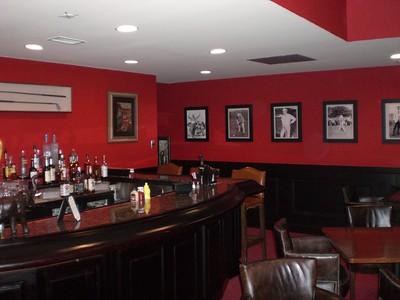 Men's locker rooms, private bar area.