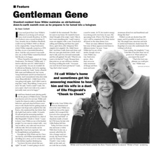 Gene Wilder interview and feature, focusing on his life and his annual film series at the Avon Theatre in Stamford CT, for the Fairfield County Weekly, 2008
