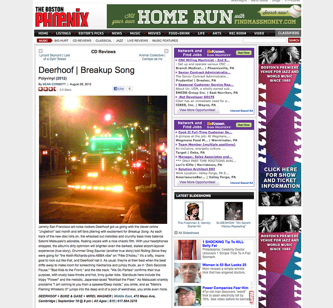 "Deerhoof ""Breakup Song"" review for the Boston Phoenix, Aug 24,  2012"
