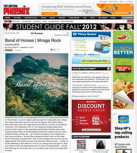 """Band of Horses """"Mirage Rock"""" review for the Boston Phoenix, Sept 12,  2012"""