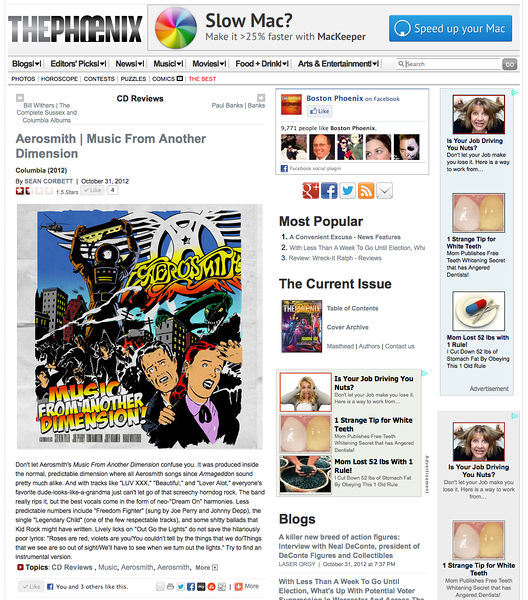 """Aerosmith """"Music From Another Dimension"""" review for the Boston Phoenix, Nov 2,  2012"""