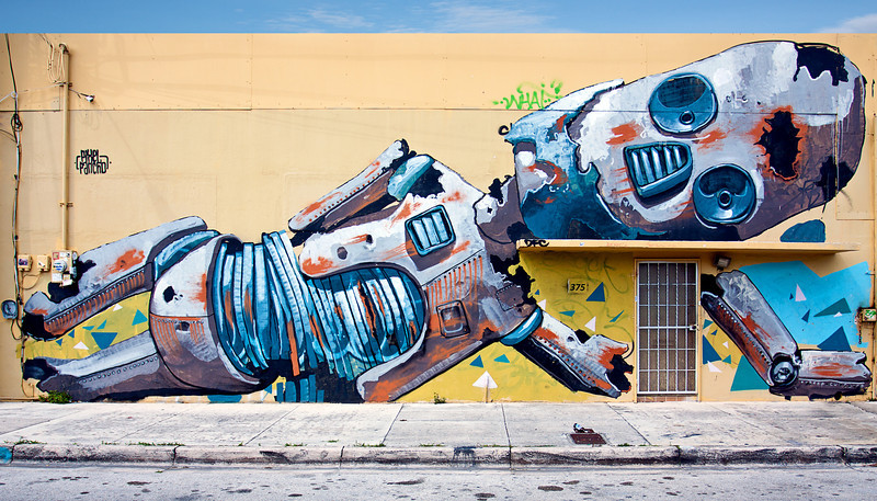 """Robot Down""<br /> Wynwood Walls<br /> Miami, Florida"