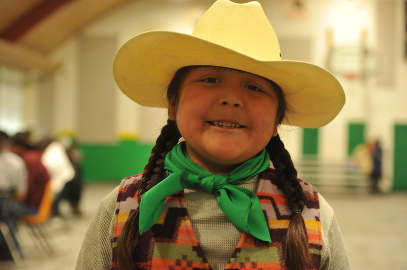 Ryan Patterson | The Sheridan Press<br /> First-grader Zaiden Bowers smiles during Native American Week at the Wyola Public School Friday, Sept. 28, 2018. The day involved a parade, powwow and meal to celebrate Native American tradition and culture.