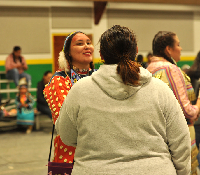 Ryan Patterson | The Sheridan Press<br /> Precious Beardontwalk smiles during Native American Week at the Wyola Public School Friday, Sept. 28, 2018. The day involved a parade, powwow and meal to celebrate Native American tradition and culture.