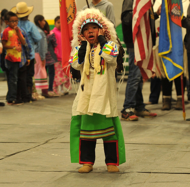 Ryan Patterson | The Sheridan Press<br /> Jericho Bullweasel participates in Native American Week at the Wyola Public School Friday, Sept. 28, 2018. The day involved a parade, powwow and meal to celebrate Native American tradition and culture.