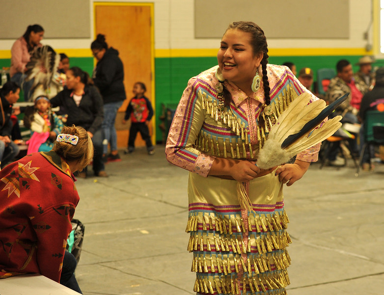 Ryan Patterson | The Sheridan Press<br /> Korra Poitra smiles during Native American Week at the Wyola Public School Friday, Sept. 28, 2018. The day involved a parade, powwow and meal to celebrate Native American tradition and culture.
