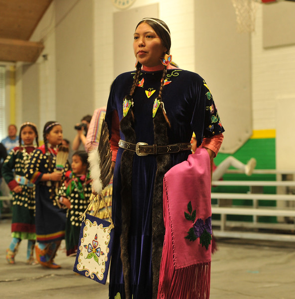 Ryan Patterson | The Sheridan Press<br /> Awna Bad Bear participates in a dance during Native American Week at the Wyola Public School Friday, Sept. 28, 2018. The day involved a parade, powwow and meal to celebrate Native American tradition and culture.