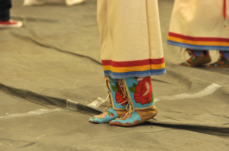 Ryan Patterson | The Sheridan Press<br /> A student wears moccasins during Native American Week at the Wyola Public School Friday, Sept. 28, 2018. The day involved a parade, powwow and meal to celebrate Native American tradition and culture.