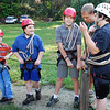 Lead instructor, Chris, tells the boys how to belay.