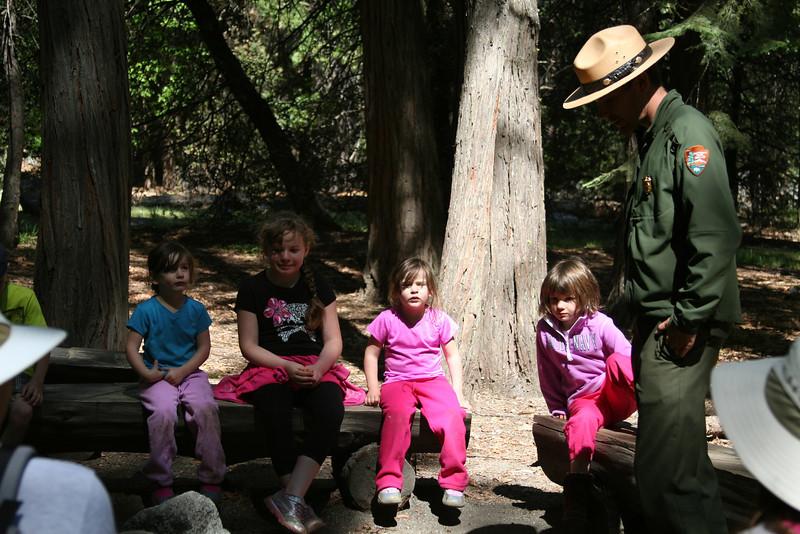 Sierra, Zoe, Piper, Kaelyn, and the Ranger at the Junior Ranger nature walk.