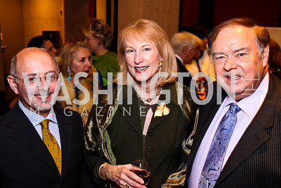 YCA Associate Dir. Mark Hayman, Lola Reinsch and Al Pierce. Young Concert Artists 50th Anniversary Benefit. Photo by Tony Powell. Embassy of Singapore. March 7, 2011