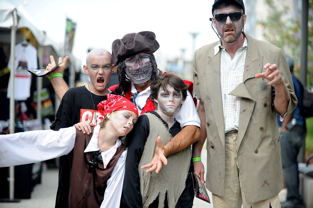 . The undead invaded downtown during the annual Long Beach Zombie Walk in Long Beach, CA. on Saturday, October 26, 2013. (Photo by Sean Hiller/Press Telegram).