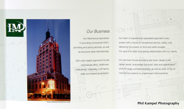 inner pages of brochure, featuring my photo of the historic Elks Tower