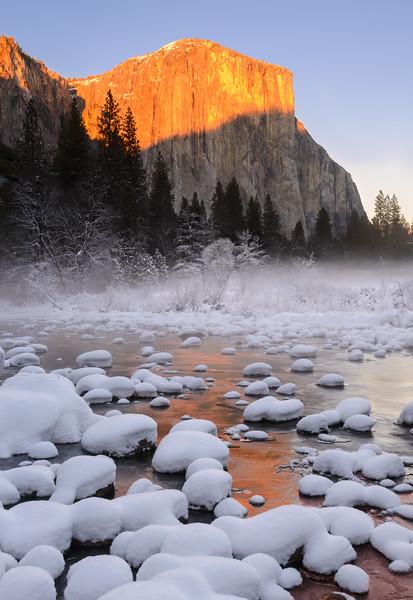 Golden Sunset on El Capitan in Winter