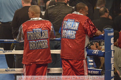 Cornermen for ADRIEN BRONER prepare for a Lightweight title bout at Boardwalk Hall in Atlantic City, New Jersey against Gavin Rees.