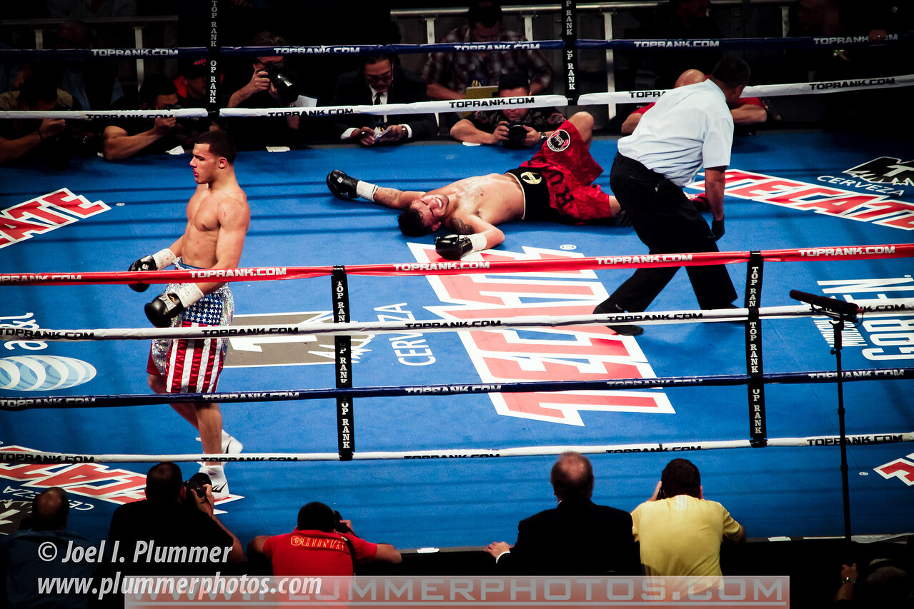 December 3, 2011-  Glen Tapia walks away after knocking out Mike Ruiz at 2:27 of the second round of their light middleweight bout at Madison Square Garden in New York City.