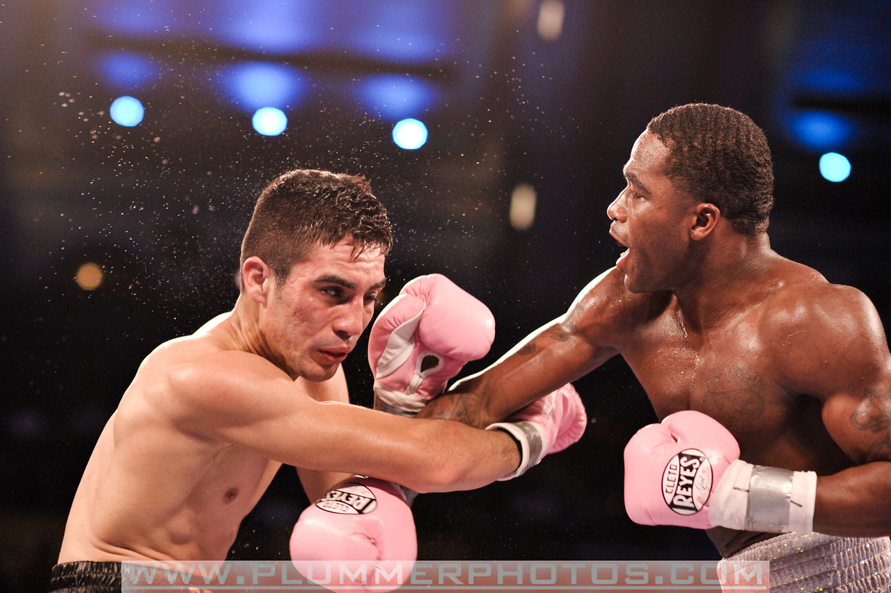 ADRIEN BRONER (right) connects a punch to the face of ANTONIO DEMARCO on his way to an eighth round TKO and wins the WBC Lightweight Champion title.