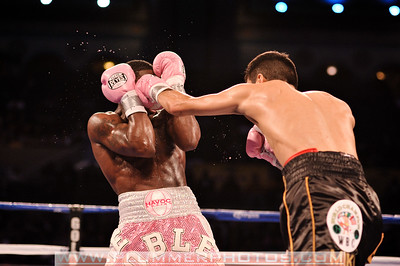 ADRIEN BRONER (pink trunks) gets caught by a jab from ANTONIO DEMARCO in their lightweight title bout at Boardwalk Hall in Atlantic City, New Jersey.