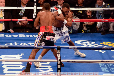 AUSTIN TROUT (white trunks) and ERISLANDY LARA battle in an WBA super welterweight title bout at the Barclays Center in Brooklyn, New York.
