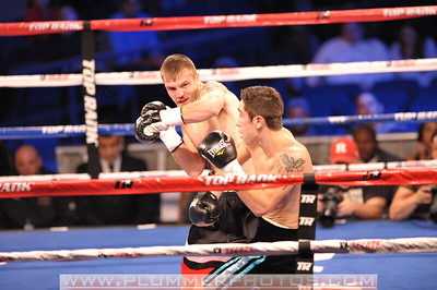BRANDON HOSKINS and MIKAEL ZEWSKI battle in a bout at Madison Square Garden in New York City, New York. MIKAEL ZEWSKI won by knockout.
