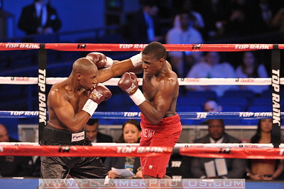BRANDON HOSKINS and MIKAEL ZEWSKI battle in a bout at Madison Square Garden in New York City, New York.